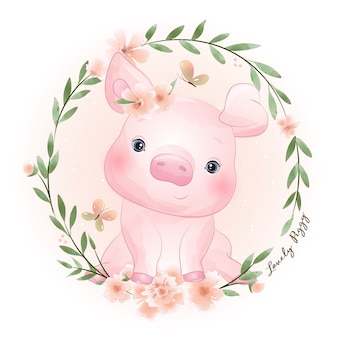 Cute doodle piggy with floral illustration