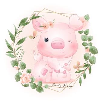 Милый каракули копилка с цветочной иллюстрацией