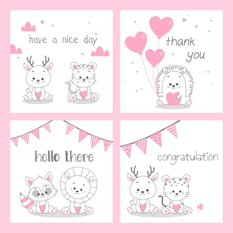 Cute doodle pink greeting card