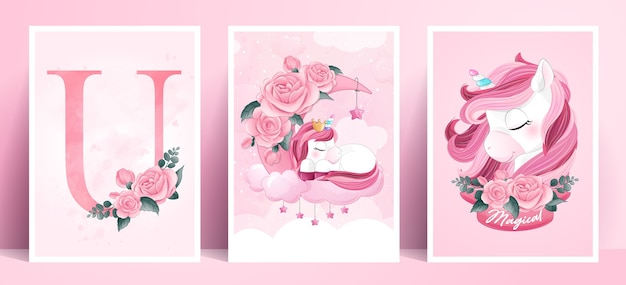 Cute doodle poster unicorn set in watercolor style