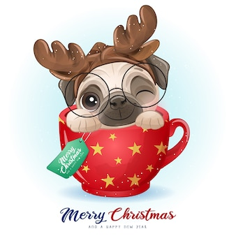 Cute doodle pug for christmas day with watercolor illustration