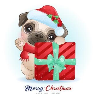 水彩イラストとクリスマスの日のかわいい落書きパグ
