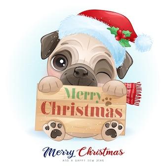 Милый каракули мопс на рождество с акварельной иллюстрацией