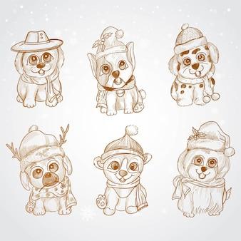 手描きのスケッチデザインでクリスマスのかわいい落書き子犬