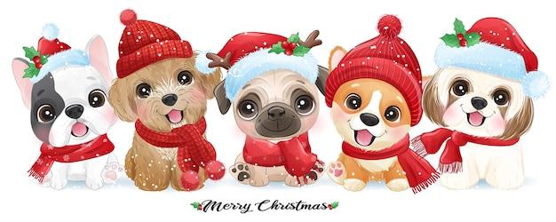 수채화 일러스트와 함께 크리스마스를위한 귀여운 낙서 강아지
