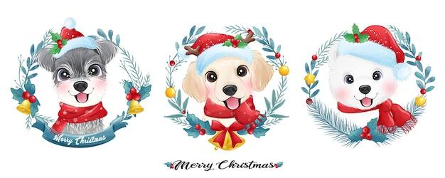 Милый щенок каракули на рождество с акварельной иллюстрацией
