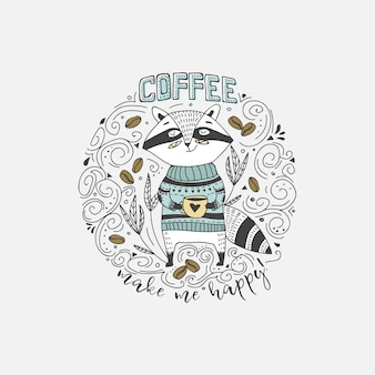 Cute doodle raccoon with coffee card