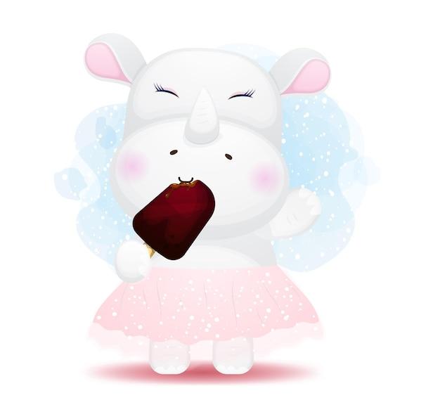귀여운 낙서 코뿔소 먹는 아이스크림 만화