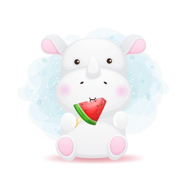 귀여운 낙서 코뿔소 먹는 수박 아이스크림 만화