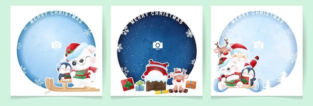 フォトフレームコレクションとクリスマスの日のかわいい落書きサンタクロースと動物