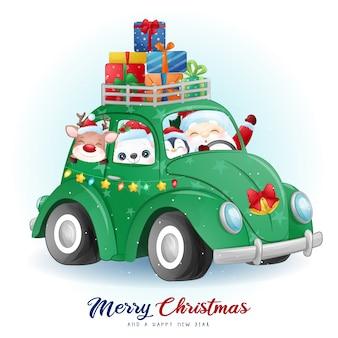 水彩イラストとクリスマスの日のかわいい落書きサンタクロースと友達