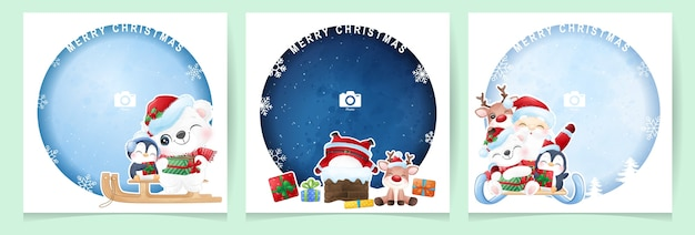 Cute doodle santa claus and animal for christmas day with photo frame collection