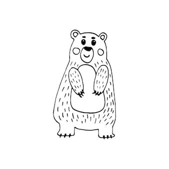 Милый рисунок скандинавского медведя. рисованной векторные иллюстрации. смешное, милое, обнимающееся, рисованное животное для плаката, баннера, печати, украшения детской игровой комнаты или поздравительной открытки.