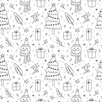 Cute doodle seamless pattern with christmas tree snowman gifts twigs and snowflakes