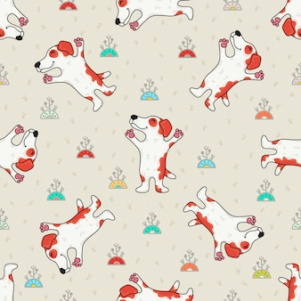 Cute doodle seamless pattern with dogs