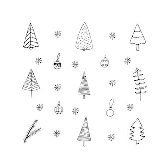 Cute doodle set of christmas tree toys ball and snowflakes icons hand drawn vector illustration