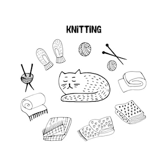 Cute doodle set with scandi cat mittens wool knitting hand drawn vector illustration