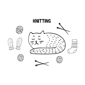 Cute doodle set with scandi cat mittens wool knitting and socks hand drawn vector illustration