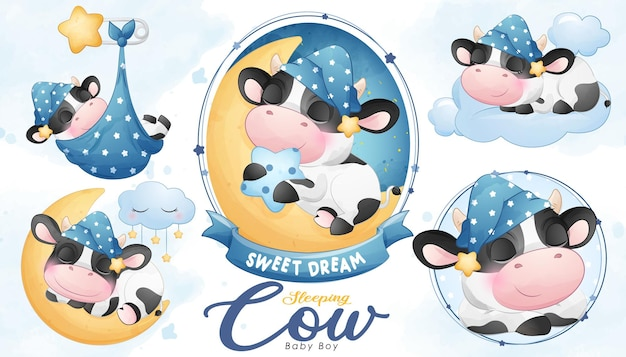 Cute doodle sleeping cow baby shower with watercolor illustration
