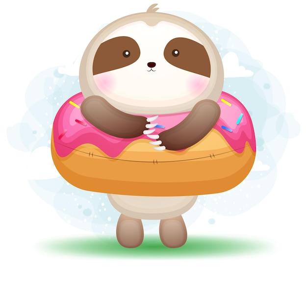 Милый каракули ленивец и сладкий десерт мультипликационный персонаж