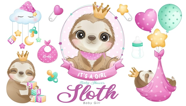 Cute doodle sloth baby shower with watercolor illustration set