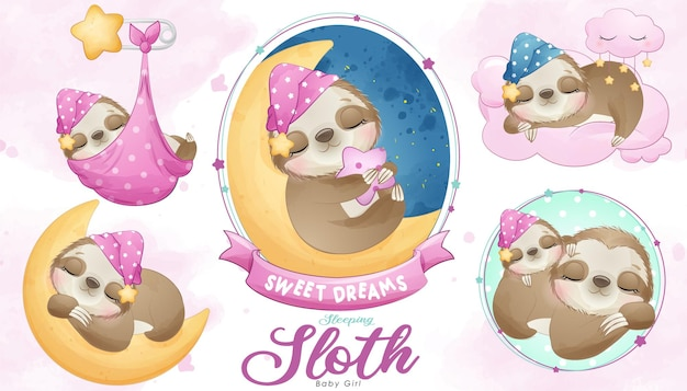 Cute doodle sloth baby shower with watercolor illustration set Premium Vector