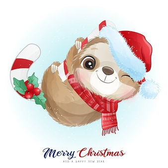 Cute doodle sloth for christmas day with watercolor illustration