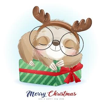 Милый каракули ленивец на рождество с акварельной иллюстрацией