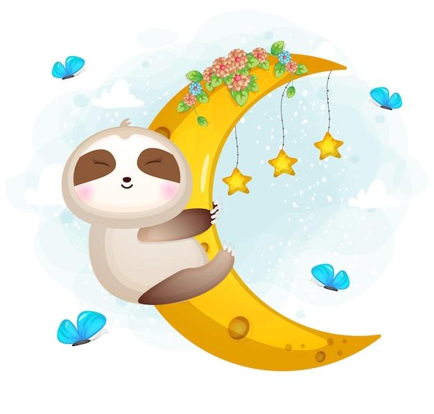Милый каракули ленивец обнимает луну мультипликационный персонаж