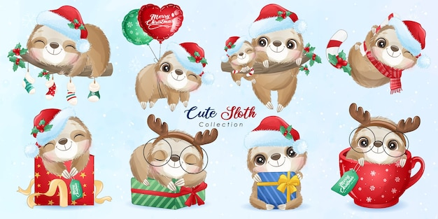 Cute doodle sloth set for christmas day with watercolor illustration