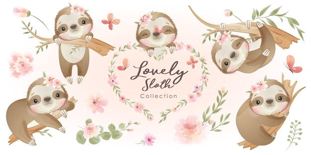 Cute doodle sloth with floral collection