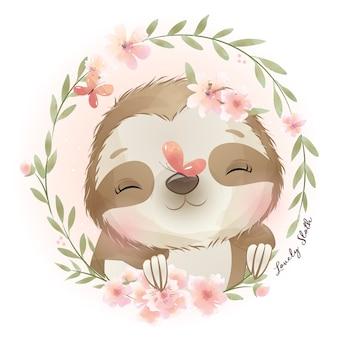 꽃 일러스트와 함께 귀여운 낙서 나무 늘보