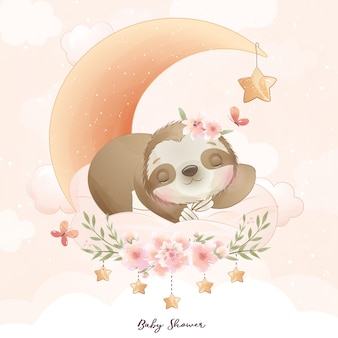 Cute doodle sloth with floral illustration