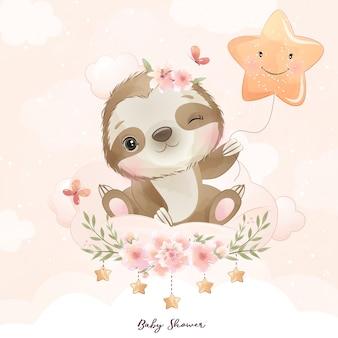 Bradipo carino doodle con illustrazione floreale