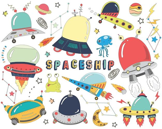 Коллекции милых каракули космических кораблей