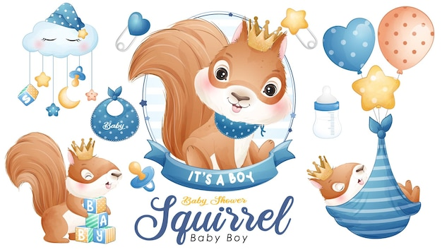 Cute doodle squirrel baby shower with watercolor illustration set
