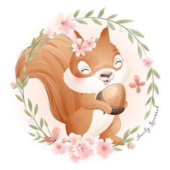 꽃 수채화 일러스트와 함께 귀여운 낙서 다람쥐