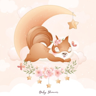 Cute doodle squirrel with floral watercolor illustration