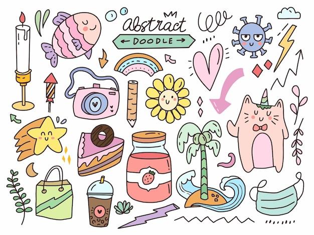 Cute doodle sticker collection set.