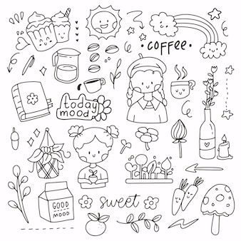 コーヒーとガーデニングのミックスオブジェクトのかわいい落書きステッカーセット。帽子をかぶって植物を持っている少女。ラインアートスタイルのロゴシンボルアイコン