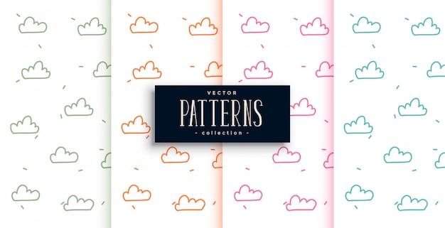 4つのかわいい落書きスタイル雲パターンセット