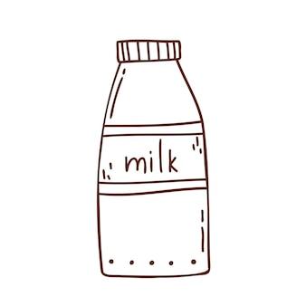 귀여운 낙서 스타일의 우유 병 handdrawn 어두운 윤곽선에 의해 어린이를위한 흰색 색칠에 고립