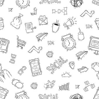 Cute doodle style of office or business icons seamless pattern