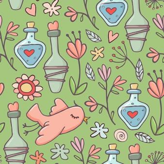 Cute doodle style seamless pattern with love potions, birds and flowers