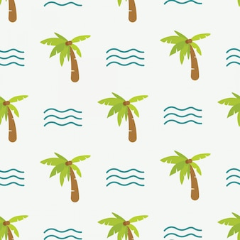 Cute doodle summer pattern with palm tree and waves