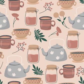 かわいい落書きのお茶とコーヒーカップ、ティーポットとガラスの瓶、葉と花の小枝。