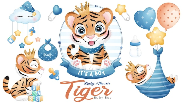 Cute doodle tiger baby shower with watercolor illustration set