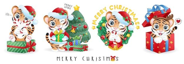 메리 크리스마스 일러스트 세트에 대한 귀여운 낙서 호랑이