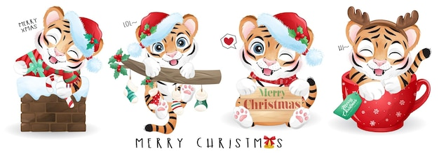 Cute doodle tiger for merry christmas illustration set