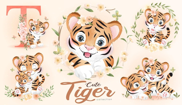 Cute doodle tiger with floral set with watercolor illustration